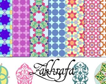 Zakhrafa – 24 royalty-free vector arabesque/Islamic geometry patterns