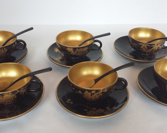 Lacquerware Cups and Saucers - Set of 6