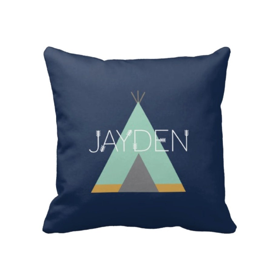 Teepee Throw Pillow & Cover-Monogram-Custom-Navy Blue Mint
