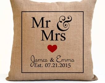 Mr Mrs Pillow Cover Est Date Burlap Pillow Monogrammed Personalized Wedding Regisrty Engagement Anniversary Present Custom Gift Photo Prop