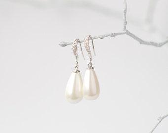 Silver crystal white drop drop earrings, bridal jewelry, wedding jewelry