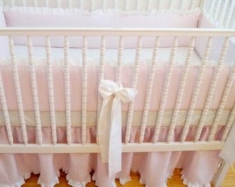 Linen Crib  bedding - light pink with ruffle ,gathered skirt and 4 side bumper -girl bedding