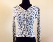 Vintage 1990s Button Down Knit Top Size Small Long Sleeve Body Con