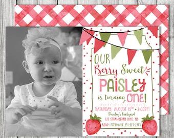 Berry Sweet Birthday Invite - Garden Birthday Invite - Freshly Picked Strawberry Invite - 5x7 JPG (Front and Back Design)