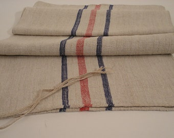 Grain Sack / Antique stairruner / Upholstery fabric / Grainsack / Blue and red stripes