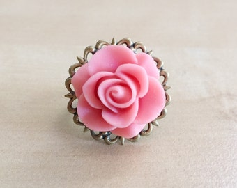 30% OFF: Pink Rose Ring - Adjustable Antique Bronze Filigree Flower Base, 21mm Cabochon, Resin, Large Flower, Shabby Chic, Peach, Coral