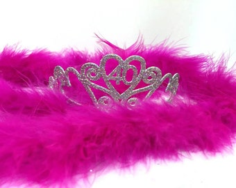 40th Birthday Tiara and Boa You Choose Boa Color