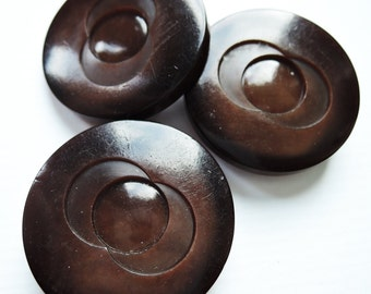 Unusual Dark Brown Art Deco Buttons
