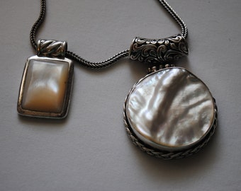 Vintage, Western, Boho, One, 925, Sterling, Silver, Bali, Chain, Necklace, And, Two, MOP, Mother Of Pearl, Statement, Pendants, 3, Pieces