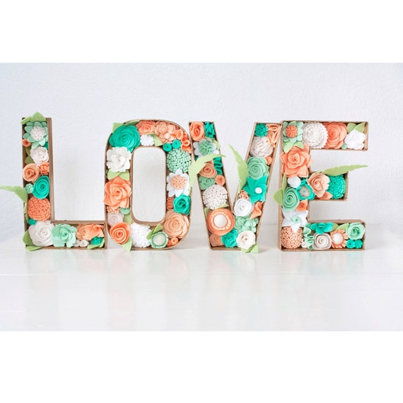 "Felt Floral Letters - ""LOVE"" with Felt Flowers"