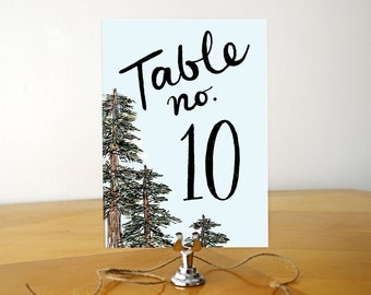 Northern Romance Table Numbers / Printed Outdoor Nature Pine Tree Oak Garden Party Wedding Table Numbers