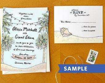 Beach Bliss: Illustrated Sea Island Destination Tropical Palm Tree Wedding Invitation Suite Printed Sample