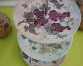 Vinyard of Grapes Tea Stand/Cupcake Tray/Appetizers/Cookies, matching set but all different with Grapes,Centerpiece, Green Background(D242)