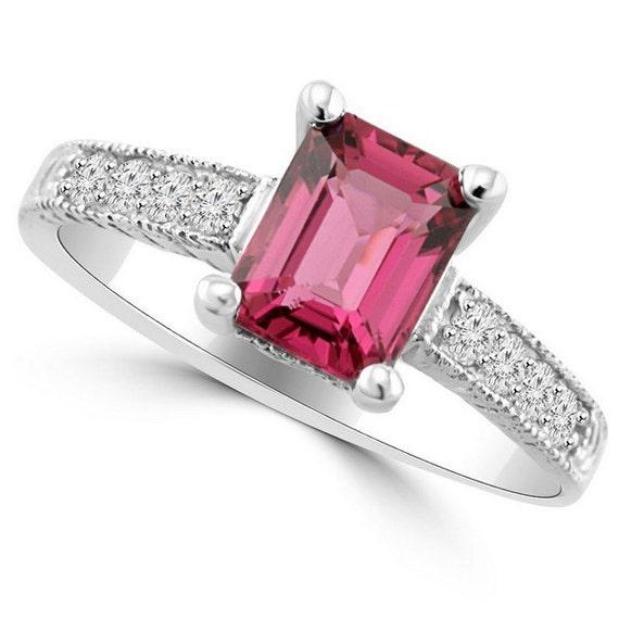 1 75ct emerald cut pink tourmaline engagement ring