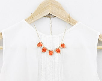 Gold Framed Coral beads statement Necklace. Teardrop Pendant Necklace. Bridesmaid Necklace. Bridesmaid Gift.