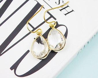 Gold Framed Amethyst Clear Glass Stone Earrings, Bridal Earrings, Bridesmaid Earrings .
