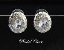 Bridal Earrings, Oval Crystal Stud Earrings, Bridal Earrings Crystal, Bridal Studs, Swarovski Earrings, Wedding Earrings, Crystal Earrings