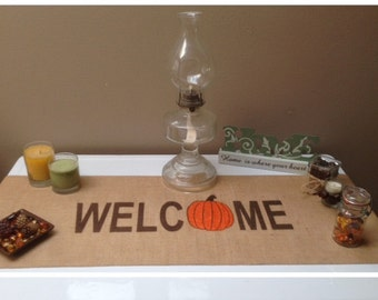 "Burlap Table Runner 12"", 14"", or 15"" wide with Welcome & a pumpkin for the ""O"" - Fall decorating Holiday decorating Home decor"