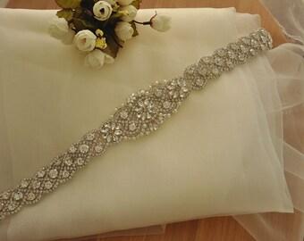 Bridal Rhinestone Applique , Wedding Sash Belt Applique