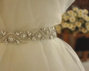 Pearl and Rhinestone applique - rhinestone trim DIY bridal sash wedding sash Pearl Crystal Sash Trim, Crystal applique for Sash Belt
