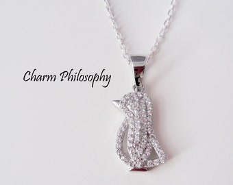 Penguin Necklace - Cubic Zirconia and 925 Sterling Silver Jewelry - Bird Necklace - Penguin Pendant