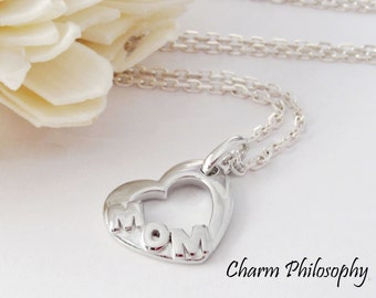 Mom Heart Necklace - 925 Sterling Silver Jewelry - New Mom Charm Pendant - Memorial Necklace