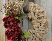 Red Peony Christmas Wreath-Christmas Burlap Wreath--Holiday Burlap Wreath-Rustic Christmas Wreath-Holiday Door Decor-Burlap Wreath