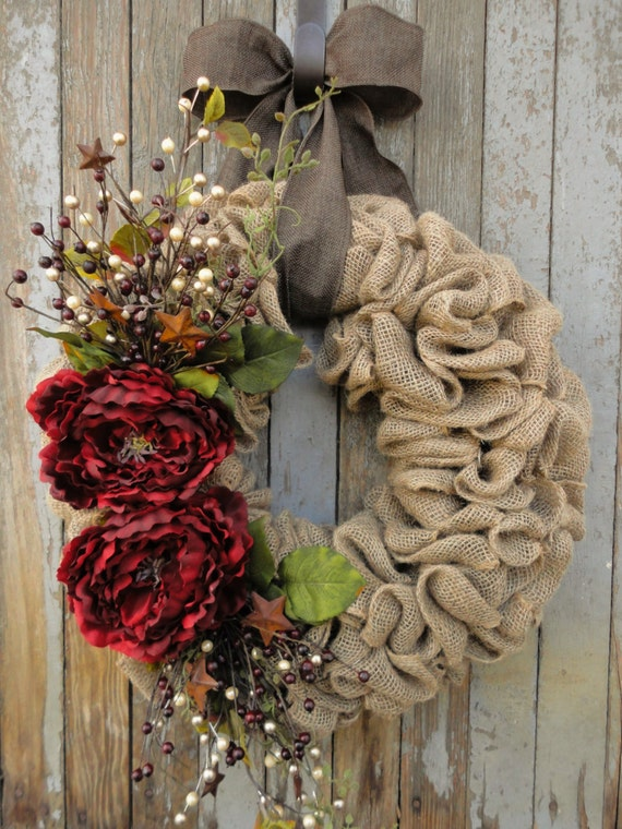 Red peony christmas wreath christmas burlap wreathholiday for How to decorate a burlap wreath for christmas