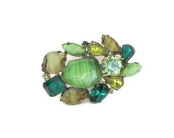 Vintage Green Brooch, 1950's Green Rhinestone Brooch, Pin, Cluster Brooch, 1950's Brooch, Jewelry