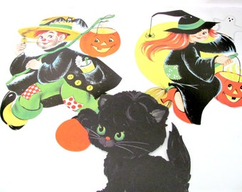 Vintage Halloween Decor, 1960's Halloween Die Cuts, Witch, Jack O' Lantern, Black Cat Die Cuts, 1960's Halloween Decor