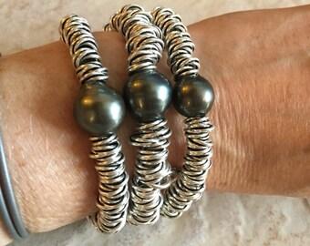 Tahitian Pearl Silver Bracelet