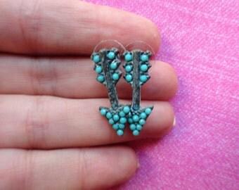 Arrow turquoise  bead stud earrings