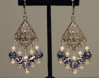 Silver dangles with shell and china blue porcelain beads
