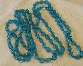 """Fabulous Vintage Art Deco Aqua Blue Cubed Glass Knotted Long Flapper Necklace 54"""" 1920s"""