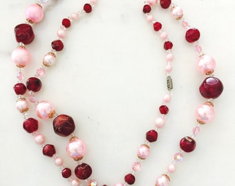 Vintage Pink and Red Costume Jewelry Beaded Necklace