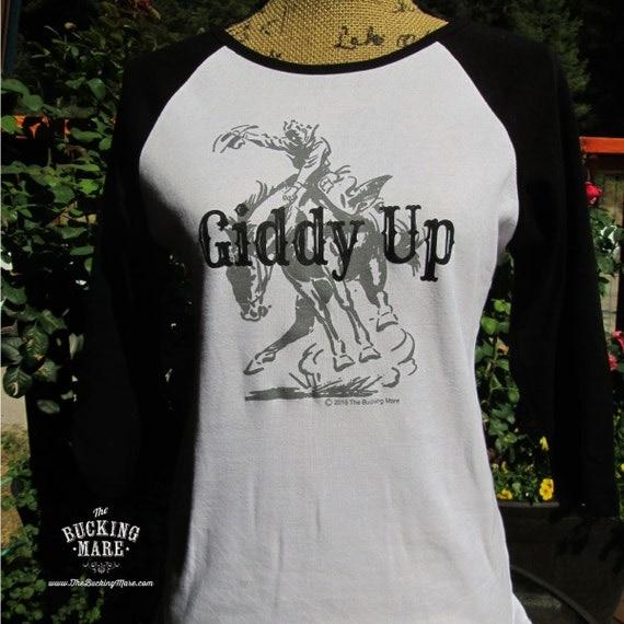Western T Shirt, Ladies T Shirt, Raglan T Shirt, Western 3/4 Raglan T Shirt, Bucking Horse T Shirt,Western Screen Print Tank Top