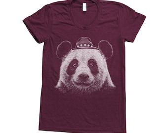 PANDA Shirt Women Custom Hand Screen Print Short Sleeve Tshirt Available: S, M, L, XL