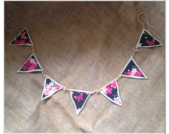 Floral Bunting. Hand Painted Shabby Chic Wooden Bunting. Butterfly and Floral Theme. Hung with twine.