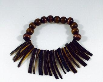 Wooded Beaded Fringe Bracelet