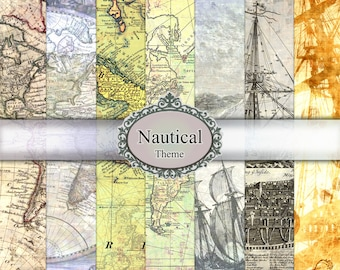 Digital Paper Nautical Maps Vintage Texture Set Pack Old World Ship Sea Antiqued Maritime Scrapbooking Backgrounds Card Making HD