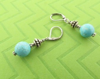 magnesite dangle earrings with stainless steel earwires