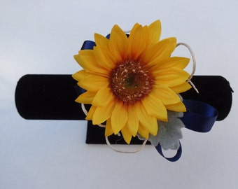 Corsage designed with a sunflower