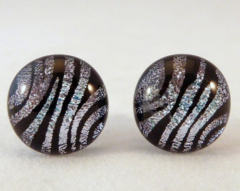 Black and Silver Zebra Dichroic Fused Glass Earrings, Fused Glass, Dichroic, Fused Glass Earrings, Studs, Zebra Earrings, Silver, Black