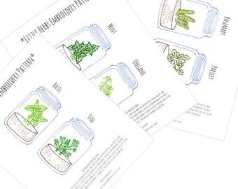 Herb Mason Jar Garden  Embroidery Patterns Set Digital Downloadable PDF Hand Embroidery 0087