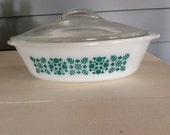 Glasbake Teal Aqua Blue Casserole Dish with Lid 1 Quart 1960s 1970s