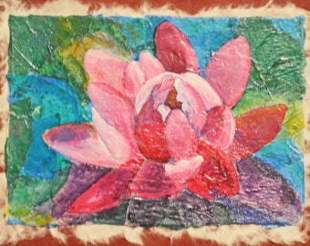 Water Lily Mixed Media  8 x 10 inches small art