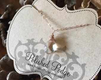 Simple rose gold necklace; rose gold quartz necklace; rose gold crystal necklace; beautiful rose gold necklace