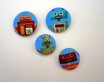 4 Fabric Buttons robots craft button decorative button handmade 1 1/8 inches +7/8 inches