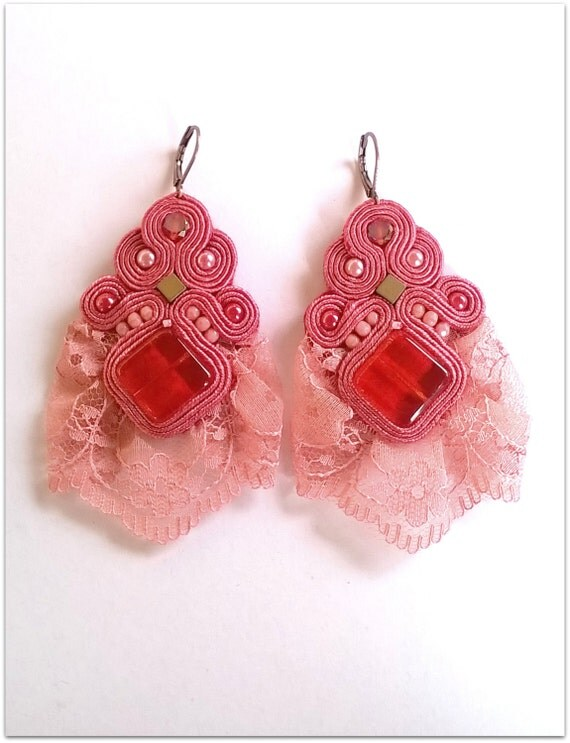 """Pink """"FLAMENCO"""" soutache earrings with laces, HANDICRAFT"""