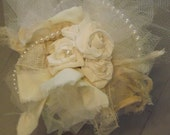 Tussy Mussy Bridal Bouquet Hand Crafted Tattered Roses and Pearls